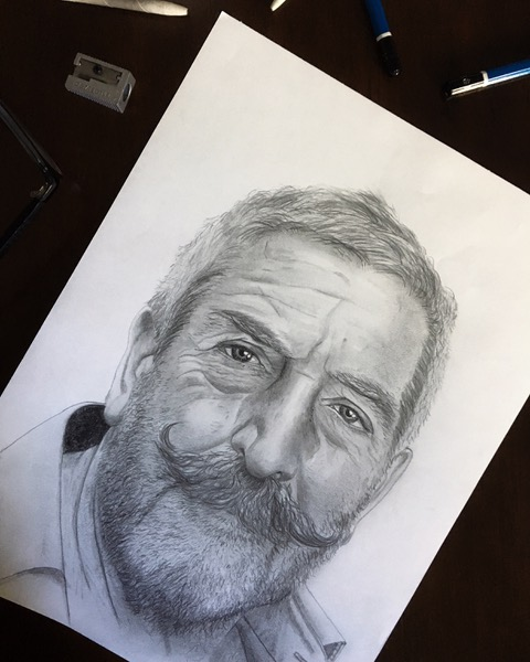 A pencil drawing of Spyros (by Colleen Kent)