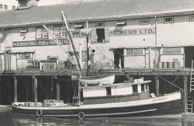 Palmarsyl moored alongside Vancouver Shellfish and Fish Company Wharf. Photo courtesy of Fisherman  Publishing Society Collection – UBC