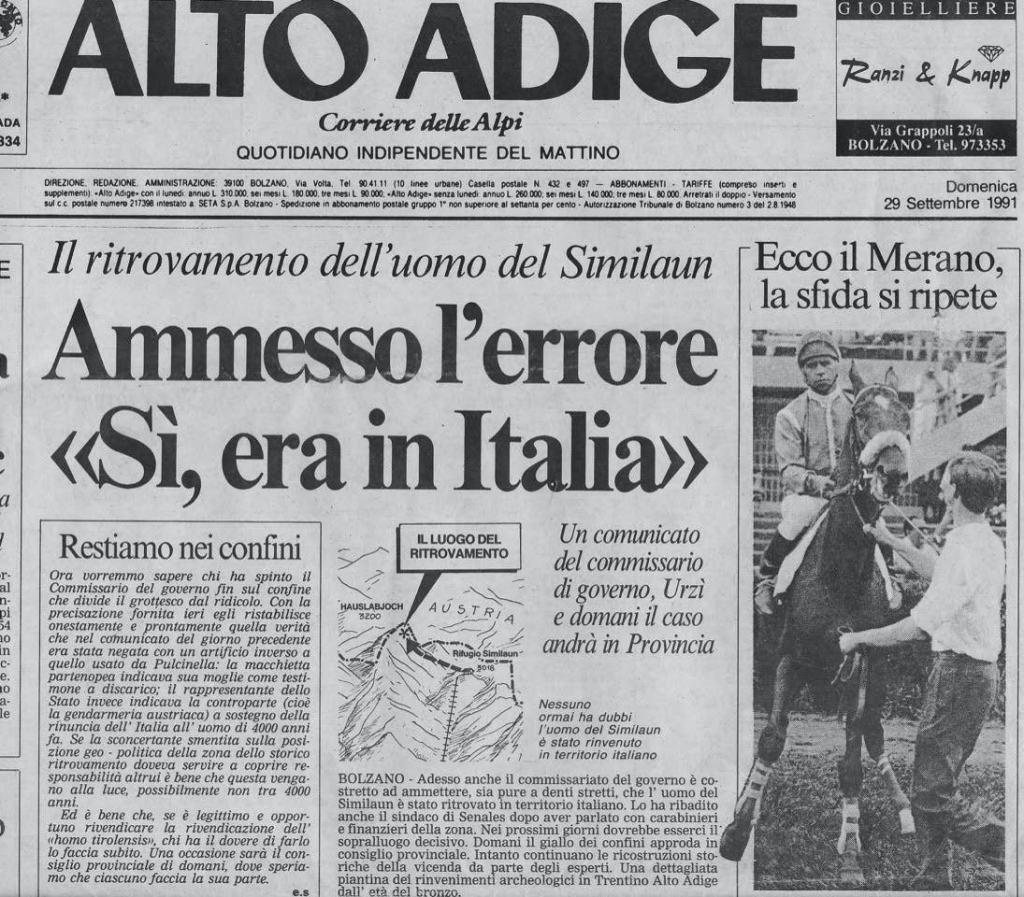 Alto Adige newspaper for September 29, 1991 (must have been printed early) - author Ian Kent