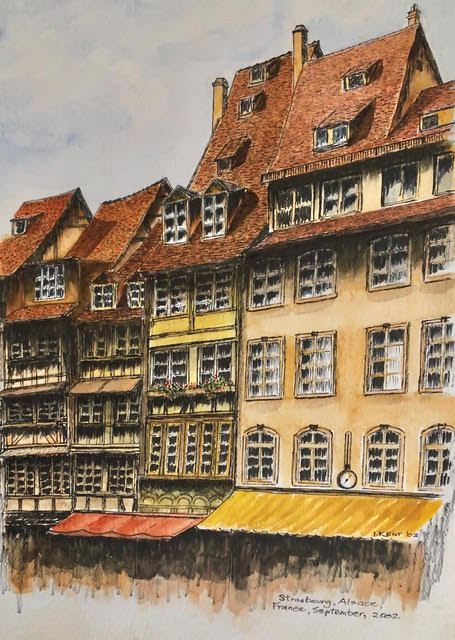 My watercolour of Strasbourg's old building from Ian Kent Author