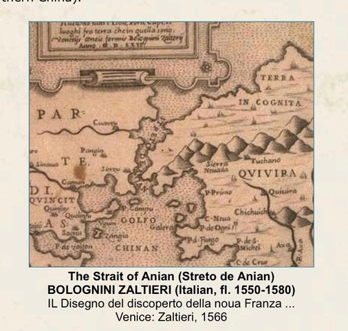 Early Italian map mentioning 'Strait of Anian' from author Ian Kent