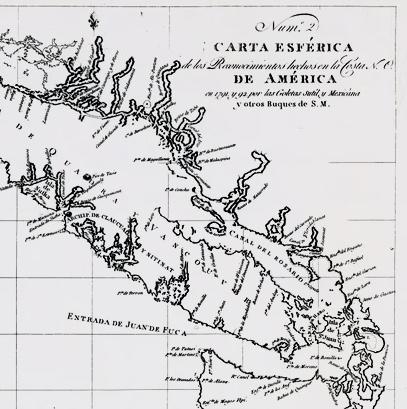 "1791 Spanish chart first mentioning ""Entrada de Juan de Fuca"" from author Ian Kent"