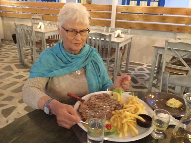 Sheila's big pork chop! Author Ian Kent