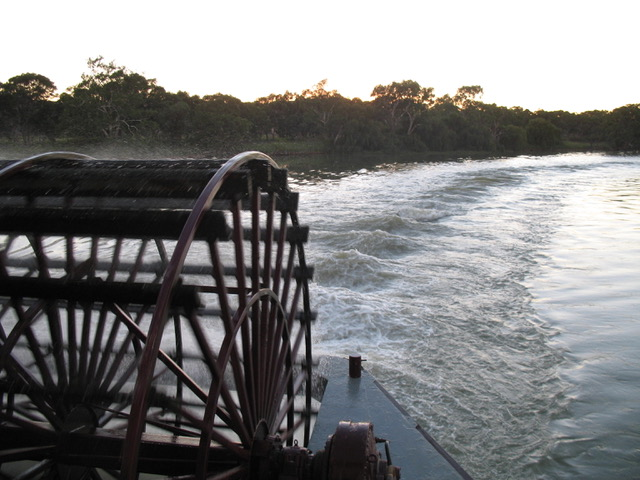 Our Stern Paddle, churning up the river. from Author Ian Kent