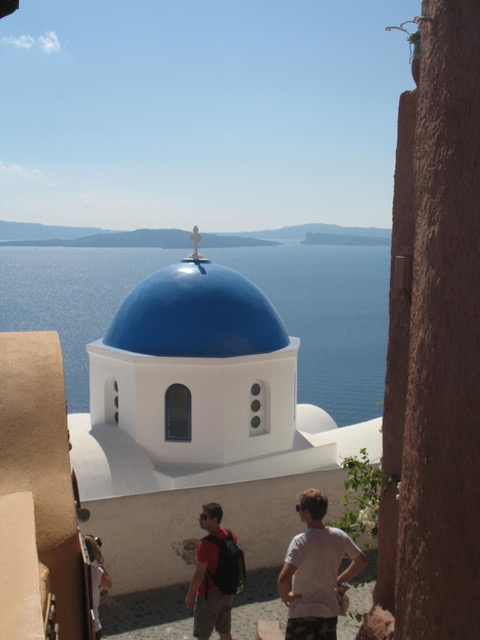 The familiar blue dome over the caldera from Author Ian Kent