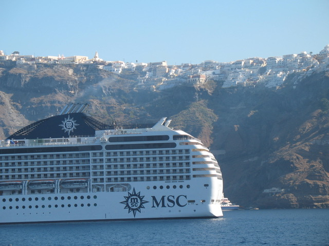 Big Cruise Ship below Fira from Author Ian Kent