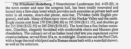 Prinz Hotel listing from author Ian Kent
