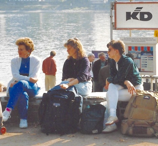 Diana and a few young backpacking girls waiting for the ferry from Author Ian Kent